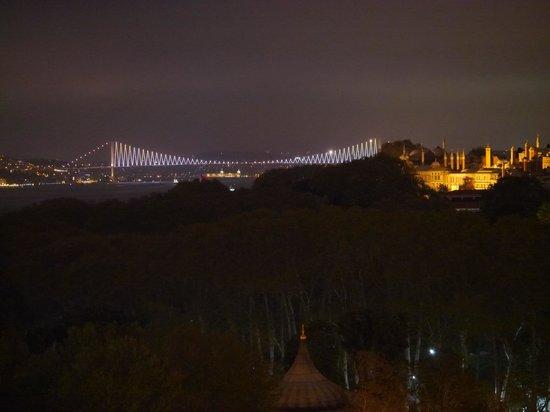 Telescopic Restaurant: Topkapi Palace and Suspension Bridge - evening view