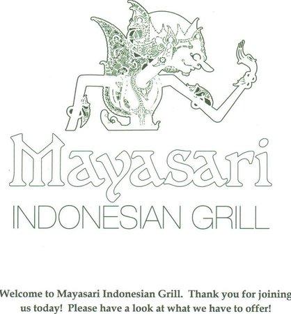 Mayasari Indonesian Grill: Logo and Front Page
