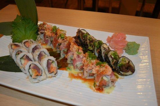 Niko Sushi & Steak: May Special (Wasabi crunchy, Volcano, Rocky Mtn roll)