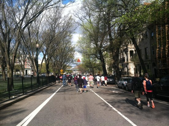 Heading along Comm Ave to Kenmore Square. Walk for Hunger May 4, 2014
