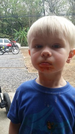 Pronto Italian Street Food : One of our sons enjoying the meatballs...