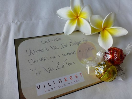 Villa Zest Boutique Hotel: Welcome message