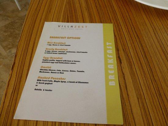 Villa Zest Boutique Hotel: Breakfast menu
