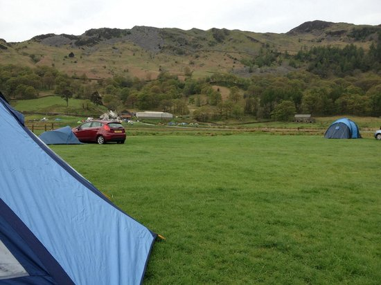 Baysbrown Farm Campsite: View from lower fields. That's the toilet block in the distance above the maroon car.