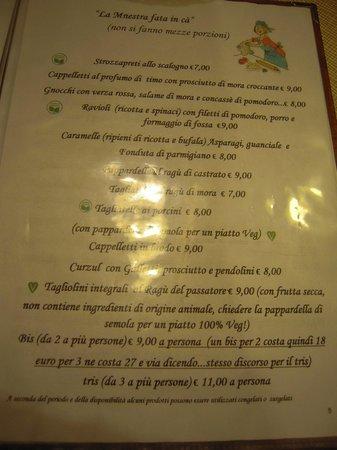 Savio di Ravenna, Italia: Menu!
