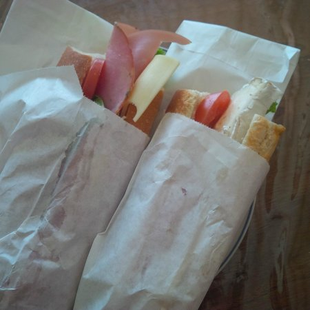 Eric the Baker : Wrapped up ham and cheese and Brie baguette sandwiches