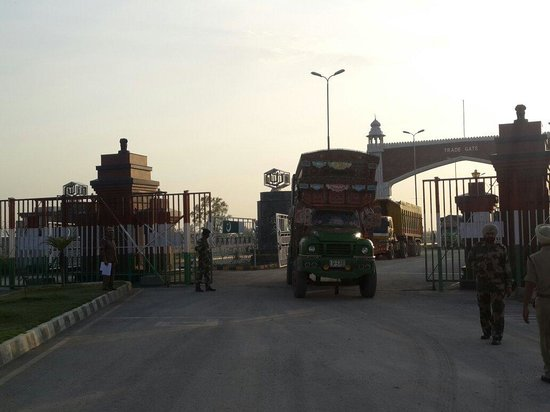 Wagah Border: Picture of Trade gate. Pakistani trucks entering in India.