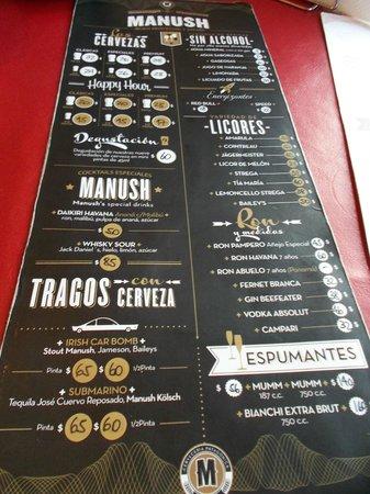 Cervecería Manush: Carta de bebidas