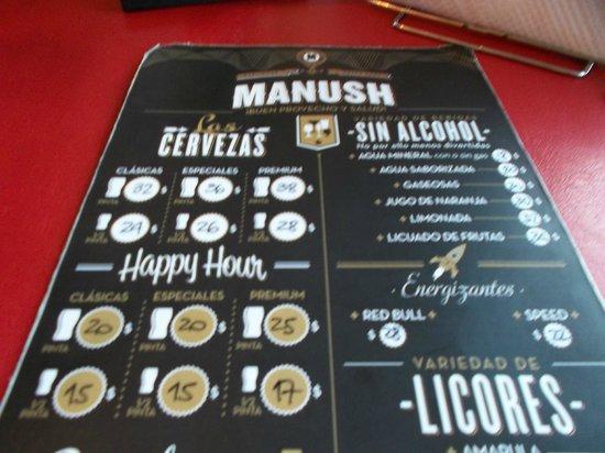 Cervecería Manush: Carta de cervezas