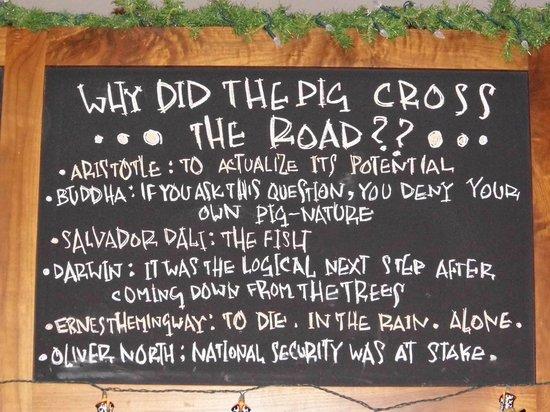 Truffle Pigs Bistro & Lounge: Truffle Pigs Blackboard