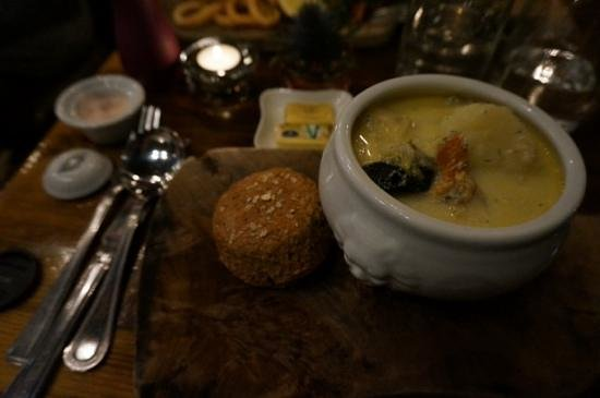 The Quay Street Kitchen: seafood chowder and brown bread scone