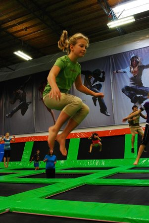 Elevated Sportz Indoor Trampoline Park: jump off the wall