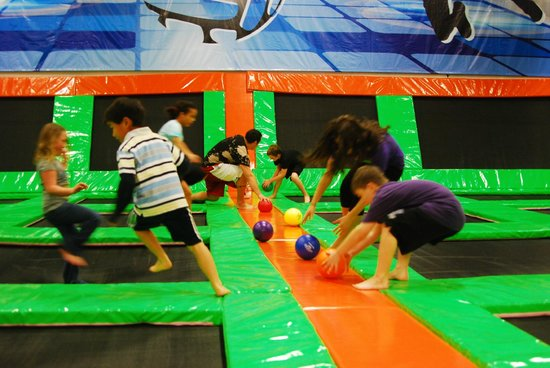 Elevated Sportz Indoor Trampoline Park: everyone can play dodgeball on trampolines