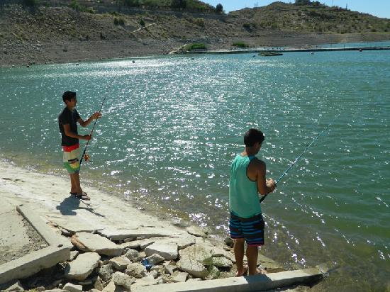 Elephant Butte, NM: Fishing from the dock at Damsite Marina