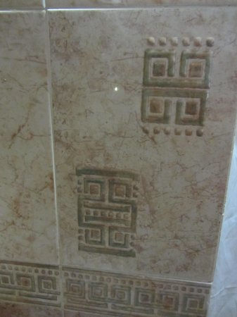 Hotel Maya Tulipanes : Bathroom tiles decorated with Mayan hieroglyphs