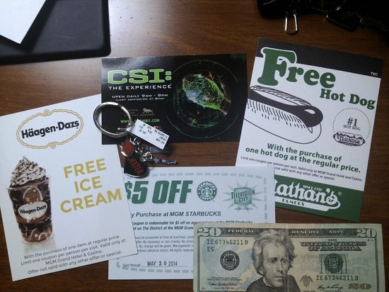 CBS Television City Research Center: various coupons, $20, and 'dexter' keychain i got.. not shown: rainforest cafe and tv store coup