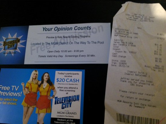 CBS Television City Research Center: the ticket, the $20 ad thingy, and the receipt from the CBS store..