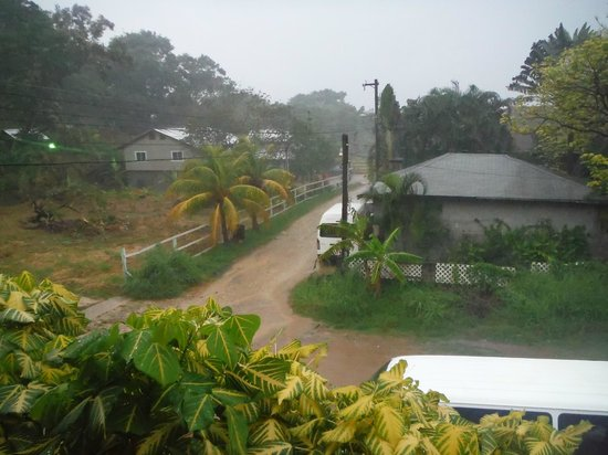Roatan Backpackers' Hostel: Dirt road from the hostel to the main road. Restaurant is located on the corner.