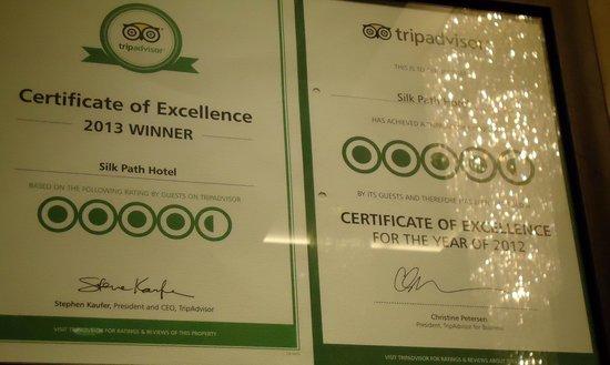 Silk Path Hotel: certificado