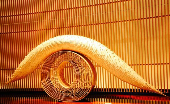 The Peninsula Tokyo: The amazing contemporary bamboo dragon sculpture in the lobby