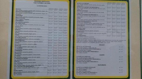 Calvino Pizzeria: menu 5/ '14