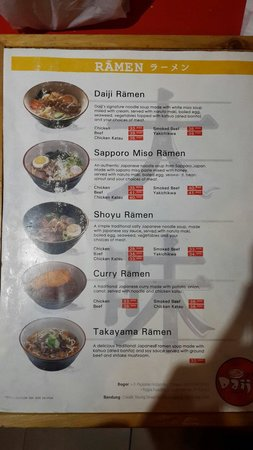 Daiji Raamen: The menus