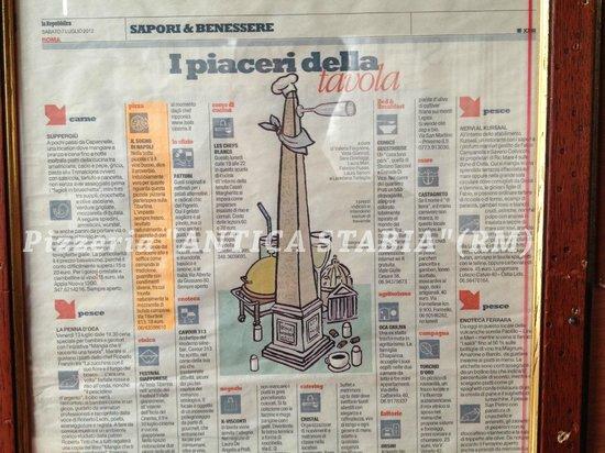 note giornalistiche della Pizzeria Antica Stabia
