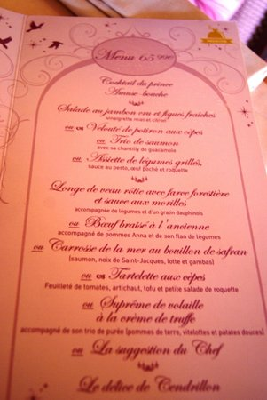 Auberge De Cendrillon: Menu