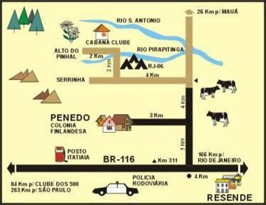Penedo, RJ: Mapa de como chegar