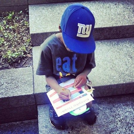 Nasher Sculpture Center: My son filling out his scavenger hunt