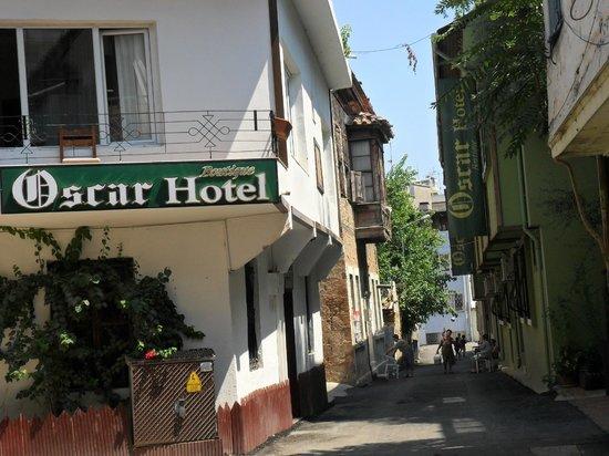 Oscar Boutique Hotel: Зеленое здание - главный корпус, за ним еще 4, посредине бассеин