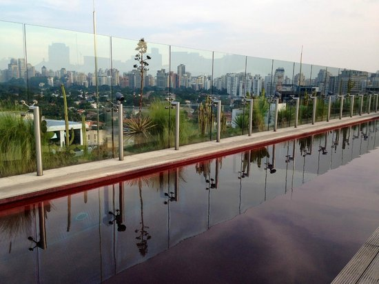 Hotel Unique: rooftop red-tiled pool with sweeping city views