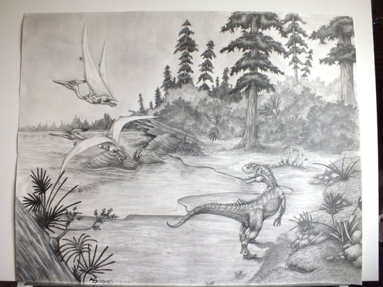 Museum of Western Colorado: Dinosaur Journey Museum: Artist's rendering of Pre-Historic Colorado by M.BrookeS