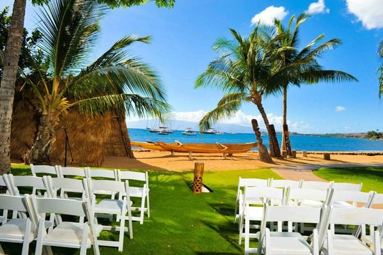 Old Lahaina Luau: The lawn set up for the wedding