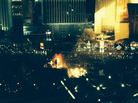 The Mirage Hotel & Casino: Our view from the room with the volcano show outside.
