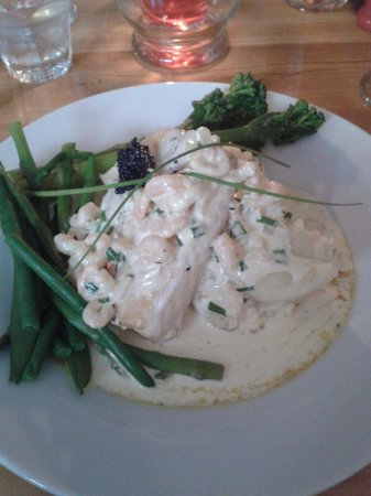 McHalls Bistro: Haddock in white wine and prawn sauce topped with a cheeky bit of caviar... was amazing