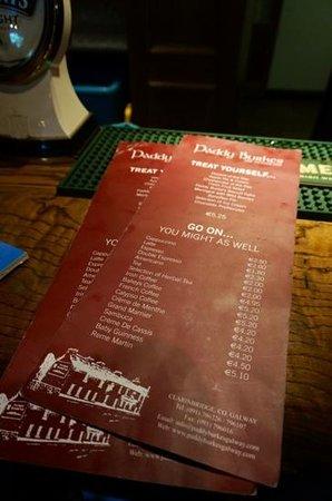 Paddy Burke's: dessert and after dinner drink menu