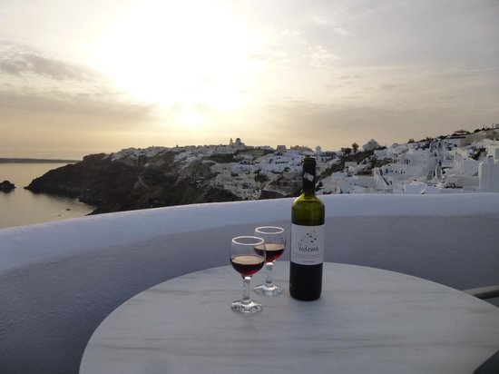 Ikies - Traditional Houses: Wine at sunset on the balcony.