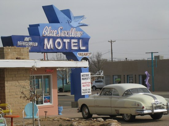 Blue Swallow Motel: The Wonderful Neon sign during the day