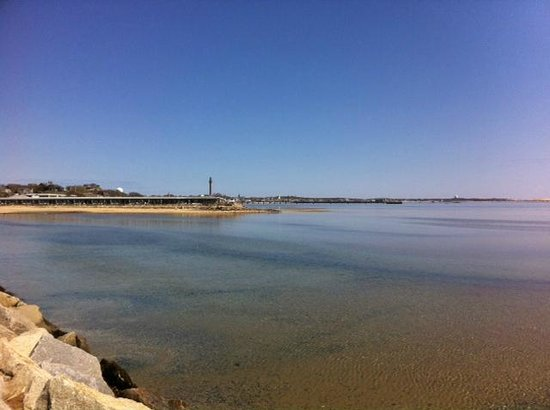 Provincetown Causeway: The monument from mid way