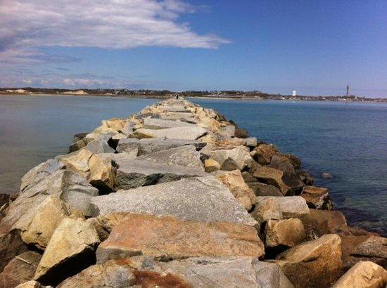 Provincetown Causeway: Looking back across the breakwater