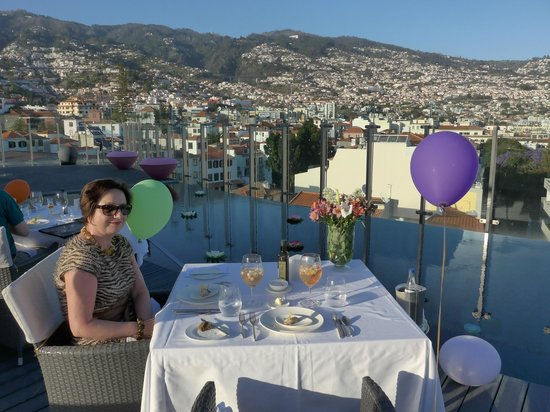 The Vine Hotel : an amazing daytime view of Funchal from a rooftop terrace