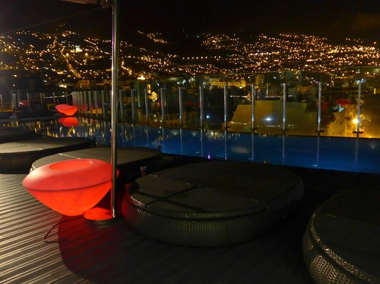 The Vine Hotel: an amazing night view of Funchal from a rooftop terrace