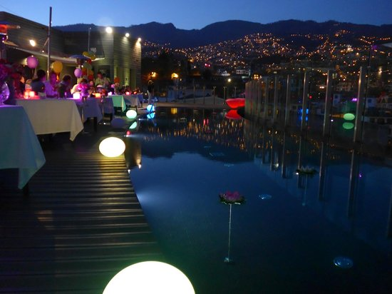 The Vine Hotel: an amazing twilight view of Funchal from a rooftop terrace