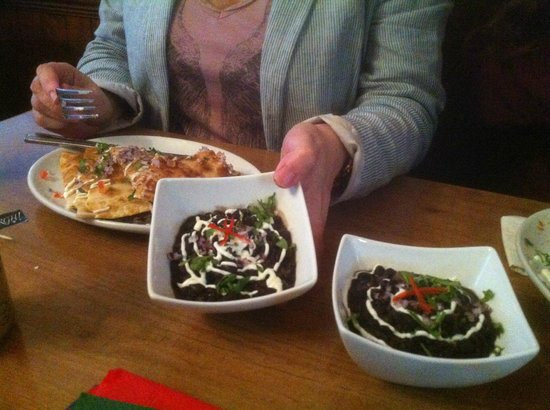 RomeroJo's: cheese quesadilla and black bean sides
