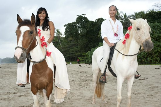 Hotel La Costa de Papito : bride and groom on horses (found by Kitty & Eddie of La Costa de Papito)