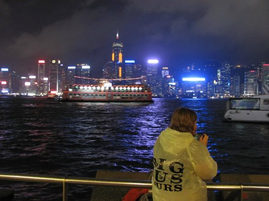 The Kowloon Hotel: Looking from Kowloon towards Hong Kong Island by night