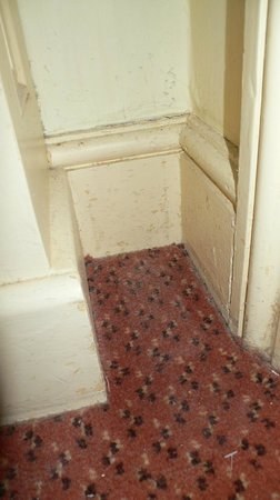 The White Hart Hotel: Dusty corners, hairs and crumbs on the floor in the room
