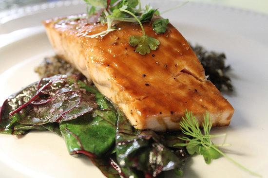 King Hill Kitchen: Glazed Salmon File -Swiss Chard
