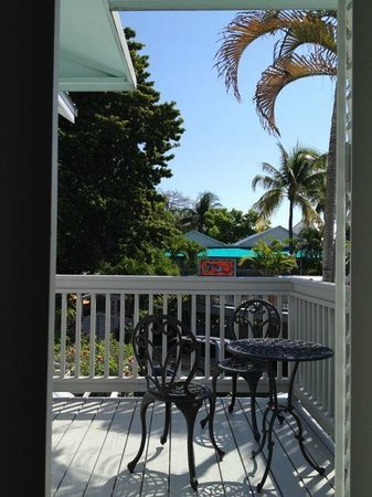 Eden House: Conch House, Upstairs Bedroom/Living Room Balcony with Bistro Set & View of Sundeck